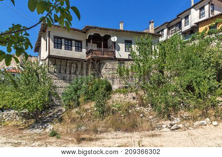 Old houses from the nineteenth century and sand pyramids in town of Melnik, Blagoevgrad region, Bulgaria