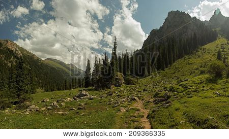Landscape Mountains, Tien Shan Ridges, Kyrgyzstan