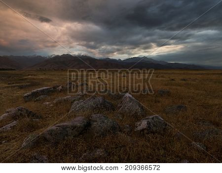 Foothills At Sunset, Mountain Ranges Of Kyrgyzstan
