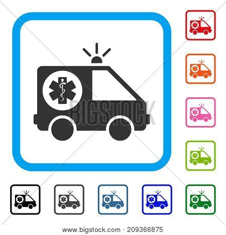 Ambulance Car icon. Flat grey pictogram symbol inside a light blue rounded rectangle. Black, gray, green, blue, red, orange color versions of Ambulance Car vector. Designed for web and software UI.