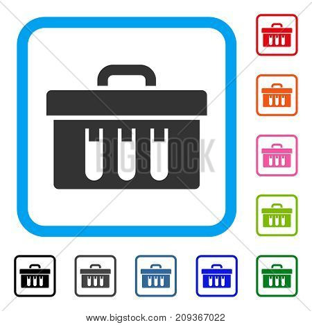 Analysis Tubes Case icon. Flat grey pictogram symbol inside a light blue rounded squared frame. Black, gray, green, blue, red, orange color additional versions of Analysis Tubes Case vector.