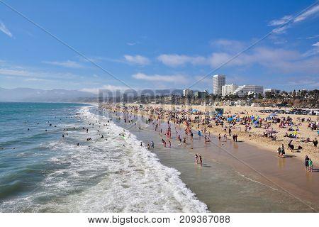 Santa Monica California - July 27 2017: Santa Monica beach view from pier in California USA.