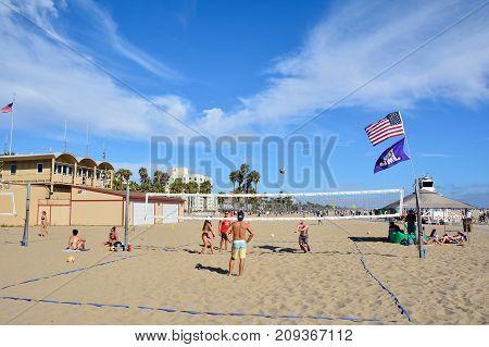 Santa Monica California - July 27 2017: People are playing beach volleyball at Santa Monica California on July 27 2017.