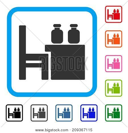 Apothecary Table icon. Flat grey iconic symbol inside a light blue rounded frame. Black, gray, green, blue, red, orange color versions of Apothecary Table vector. Designed for web and app UI.