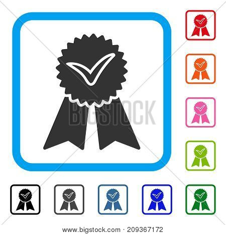 Approvement icon. Flat grey iconic symbol inside a light blue rounded frame. Black, gray, green, blue, red, orange color variants of Approvement vector. Designed for web and app interfaces.