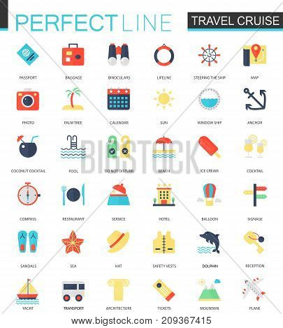 Vector set of flat Travel cruise icons isolated.