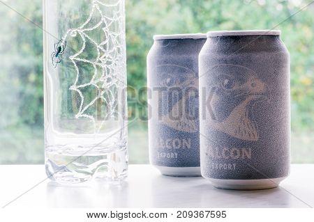 Örebro Sweden 15 October 2017 Ice Cold Falcon Beer Cans