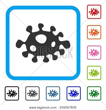 Bacteria icon. Flat grey pictogram symbol in a light blue rounded squared frame. Black, gray, green, blue, red, orange color versions of Bacteria vector.