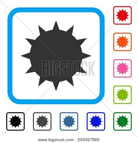 Bacterium icon. Flat grey pictogram symbol in a light blue rounded frame. Black, gray, green, blue, red, orange color additional versions of Bacterium vector.
