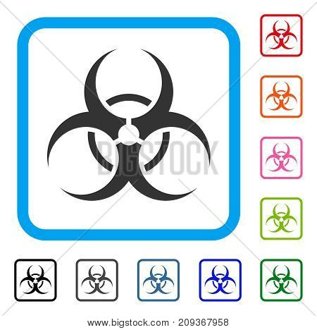 Bio Hazard icon. Flat grey pictogram symbol inside a light blue rounded square. Black, gray, green, blue, red, orange color versions of Bio Hazard vector.