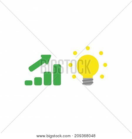 Flat Design Style Vector Concept Of Sales Bar Moving Up With Glowing Good Idea Light Bulb