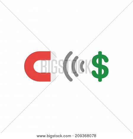 Flat Design Style Vector Concept Of Magnet Attracting Dollar Money