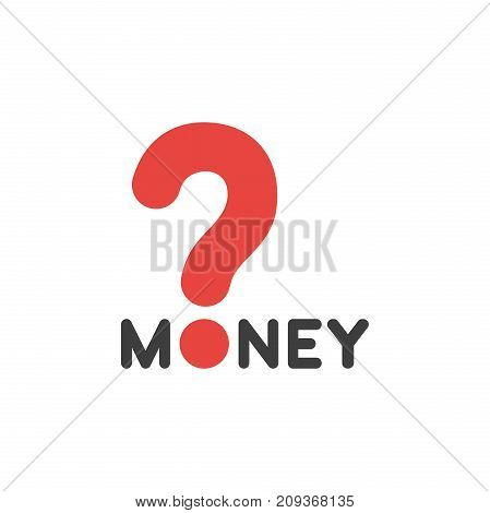 Flat Design Style Vector Concept Of Money Text With Question Mark