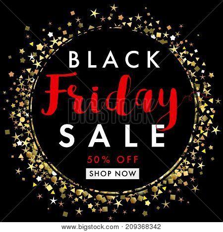 Black friday sale on black label banner template. Black Friday sale banner, black tag with golden sparks and stars round.Special offer, 50% off shop now. Vector illustration