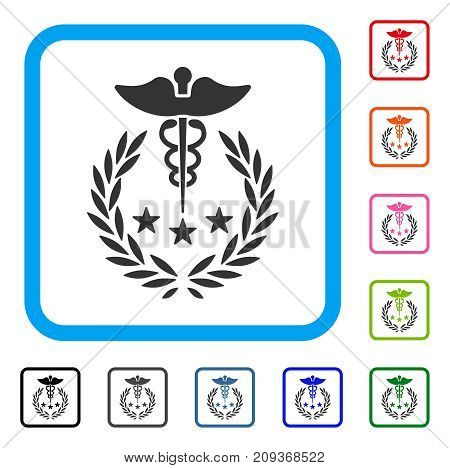 Caduceus Logo icon. Flat grey pictogram symbol in a light blue rounded square. Black, gray, green, blue, red, orange color versions of Caduceus Logo vector. Designed for web and app user interface.