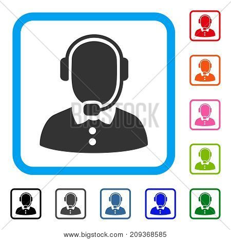 Call Center Operator icon. Flat gray pictogram symbol inside a light blue rounded rectangle. Black, gray, green, blue, red, orange color variants of Call Center Operator vector.