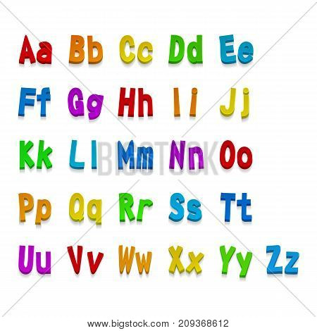 Multicolor 3d Fonts, available all letters. Vector eps 10