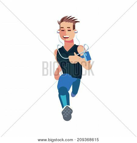 Flat designed character of a runner isolated on white background. Front view of a running man. Concept illustration about Running as part of a healthy lifestyle.