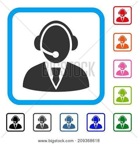 Call Center Worker icon. Flat gray pictogram symbol inside a light blue rounded rectangle. Black, gray, green, blue, red, orange color additional versions of Call Center Worker vector.