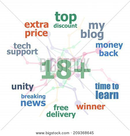 Text 18 Plus. Social Concept . Word Cloud Collage. Background With Lines And Circles