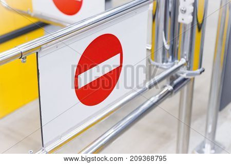 security barriers in a row in the shop closeup photo