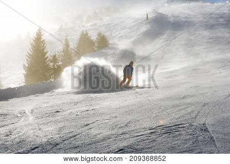 JASNA SLOVAKIA - JANUARY 25: The skiers are on and sun in Jasna Low Tatras. It is the largest ski resort in Slovakia with 49 km of pistes on January 25 2017 in Jasna Slovakia