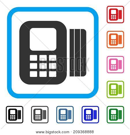 Card Processor icon. Flat grey iconic symbol in a light blue rounded square. Black, gray, green, blue, red, orange color versions of Card Processor vector. Designed for web and app interfaces.