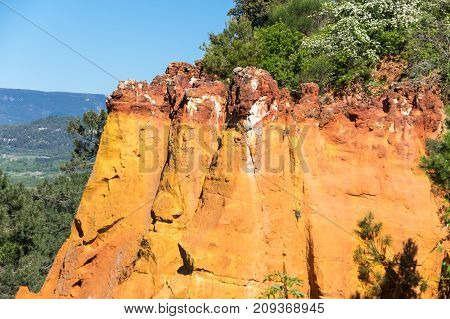 Red rocks of Colorado provencal in Roussillon France