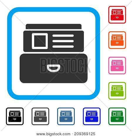 Catalog icon. Flat gray iconic symbol inside a light blue rounded squared frame. Black, gray, green, blue, red, orange color additional versions of Catalog vector.