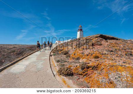 BERLENGA ISLAND, PORTUGAL - September 10, 2017: People visiting the island of Berlenga lighthouse, in Portugal