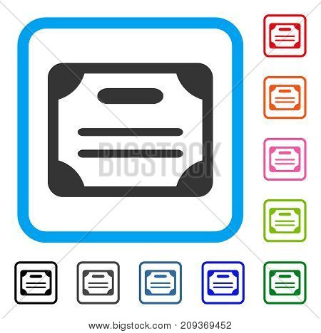 Certificate icon. Flat gray iconic symbol in a light blue rounded square. Black, gray, green, blue, red, orange color versions of Certificate vector. Designed for web and application interfaces.