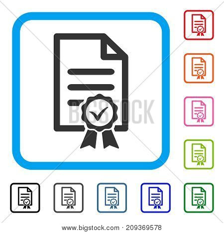 Certified icon. Flat gray pictogram symbol in a light blue rounded square. Black, gray, green, blue, red, orange color versions of Certified vector. Designed for web and app interfaces.