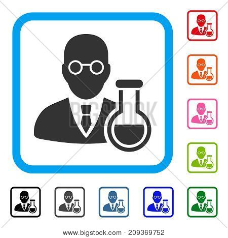 Chemist icon. Flat gray pictogram symbol inside a light blue rounded squared frame. Black, gray, green, blue, red, orange color variants of Chemist vector. Designed for web and software interfaces.