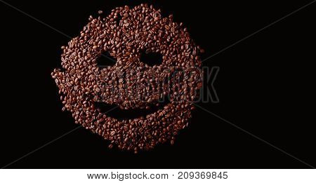 Coffee Smiley Face Made Out Coffee Beans Background, Isolated Over A Black Background.
