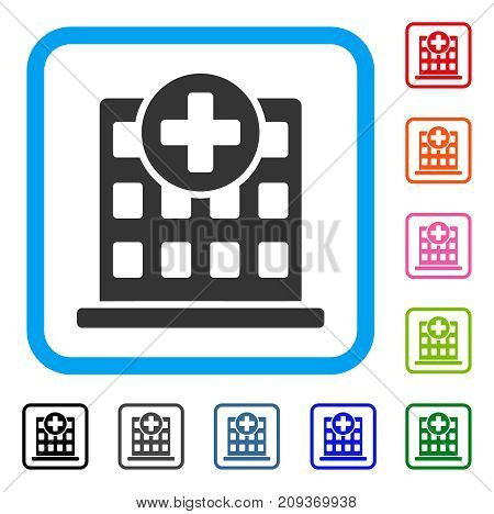 Clinic Facade icon. Flat grey iconic symbol in a light blue rounded rectangle. Black, gray, green, blue, red, orange color variants of Clinic Facade vector. Designed for web and software UI.