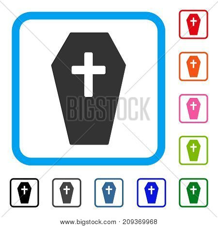 Coffin icon. Flat grey pictogram symbol in a light blue rounded rectangle. Black, gray, green, blue, red, orange color variants of Coffin vector. Designed for web and app user interface.