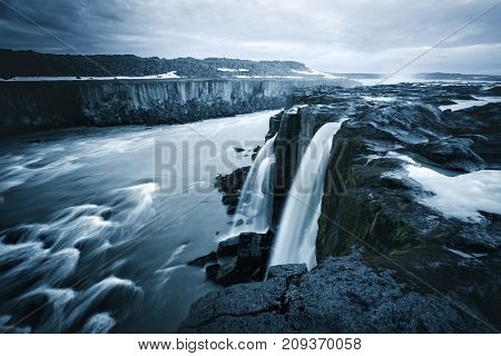 Image of famous Selfoss cascade. Location place Vatnajokull National Park, Jokulsa a Fjollum, Iceland, Europe. Great and gorgeous scene. Popular tourist attraction. Instagram toning. Beauty world.