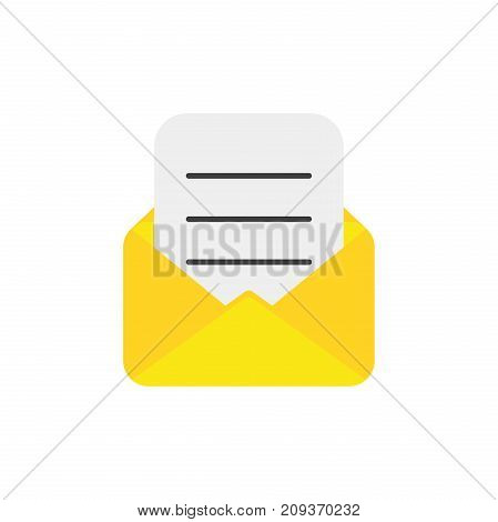Flat Design Style Vector Concept Of Open Envelope With Written Paper