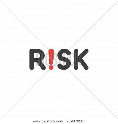 Flat Design Style Vector Concept Of Risk Text With Exclamation Mark