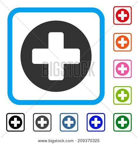 Create Cross icon. Flat gray pictogram symbol in a light blue rounded rectangle. Black, gray, green, blue, red, orange color variants of Create Cross vector. Designed for web and app user interface.