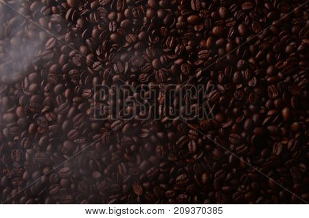 Brazilian Hot Coffee Seeds Background With Smoke For Coffee Shops.