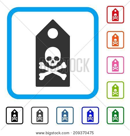 Death Mark icon. Flat gray iconic symbol in a light blue rounded squared frame. Black, gray, green, blue, red, orange color versions of Death Mark vector. Designed for web and software interfaces.