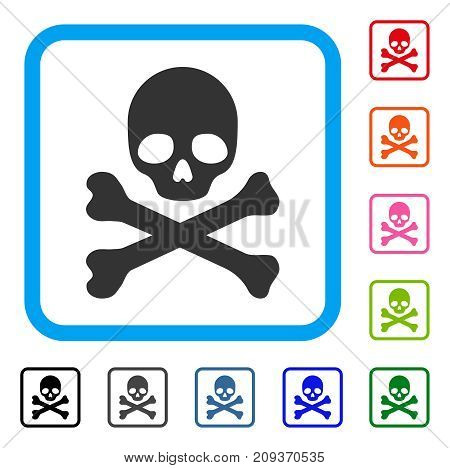Death icon. Flat gray iconic symbol in a light blue rounded rectangular frame. Black, gray, green, blue, red, orange color versions of Death vector. Designed for web and application UI.