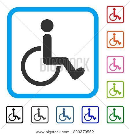 Disabled Person icon. Flat gray pictogram symbol in a light blue rounded rectangular frame. Black, gray, green, blue, red, orange color variants of Disabled Person vector.