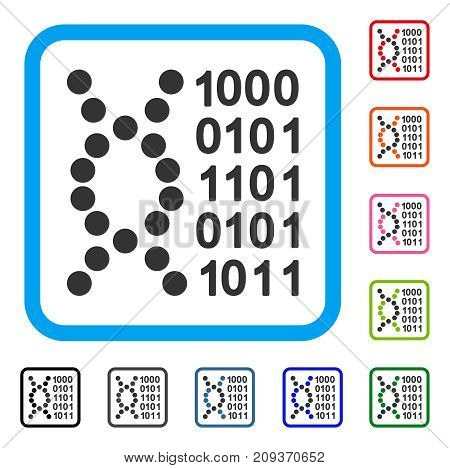 DNA Code icon. Flat grey pictogram symbol inside a light blue rounded rectangular frame. Black, gray, green, blue, red, orange color additional versions of DNA Code vector.