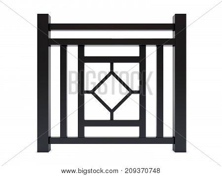 Design black metal railing render 3d model