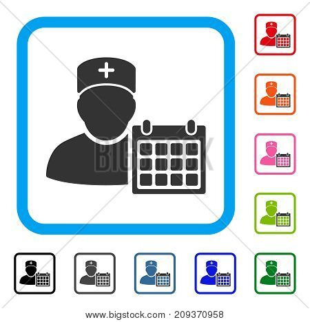 Doctor Appointment icon. Flat grey pictogram symbol in a light blue rounded rectangular frame. Black, gray, green, blue, red, orange color versions of Doctor Appointment vector.