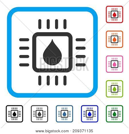 Drop Analysis Chip icon. Flat grey iconic symbol in a light blue rounded rectangle. Black, gray, green, blue, red, orange color variants of Drop Analysis Chip vector.