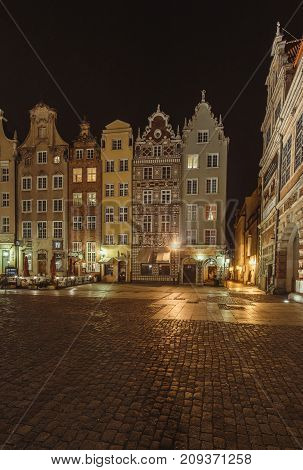 Architecture Gdansk, Old City In Europe At Night