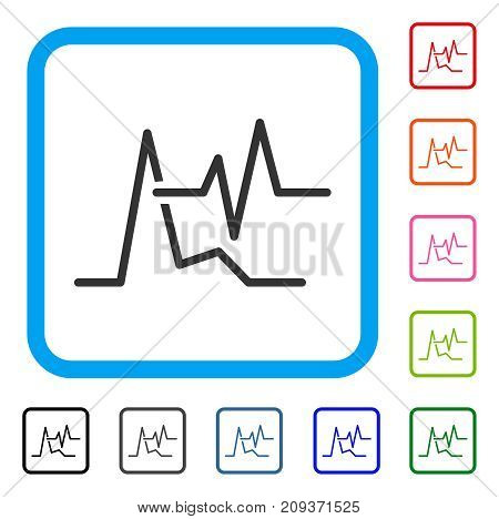 ECG icon. Flat grey iconic symbol in a light blue rounded frame. Black, gray, green, blue, red, orange color versions of ECG vector. Designed for web and software user interface.